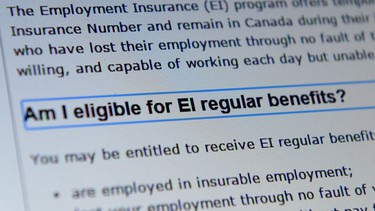 The new budget may also aid those seeking Employment Insurance benefits. The wait period for the first EI cheque will drop to one week from two. Benefit periods will be extended by five weeks in areas with the sharpest increases in unemployment. (THE CANADIAN PRESS/Sean Kilpatrick)