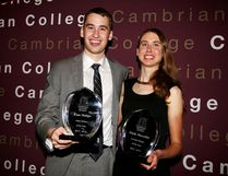 Cambrian Golden Shield men's soccer team goaltender Evan Phillips (left) and cross-country runner Emily Marcolini were named the Cambrian Athletics athletes of the year at the school's 49th annual athletics banquet Tuesday evening.