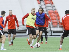 The Canadian men's national team practises ahead of Friday night's clash with Mexico. (POSTMEDIA NETWORK)