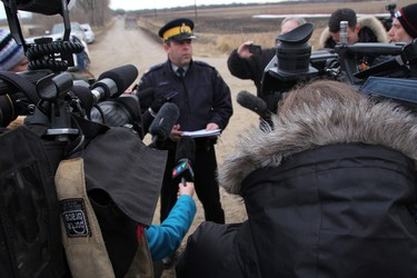 RCMP Sgt. Bert Paquet spoke to media Saturday evening after it was confirmed the body of missing two-year-old boy Chase Martens was recovered earlier in the day. (Matt Hermiz/TheGraphic/Postmedia Network)