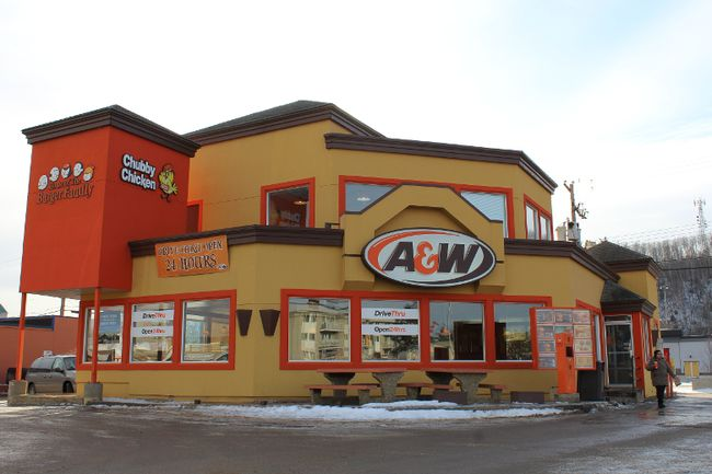An A&W restaurant is pictured in downtown Fort McMurray, Alta., on Jan. 30, 2016. A&W says it has now decided to serve French's Tomato Ketchup and Classic Yellow Mustard in all of its restaurants across Canada. (Vince McDermott/Fort McMurray Today/Postmedia Network)