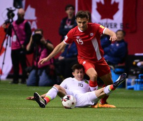 Mexico's Hector Herrera battles for the ball with Canada's Adam Straith during first-half action at BC Place in Vancouver on March 25, 2016. (Anne-Marie Sorvin/USA TODAY Sports)