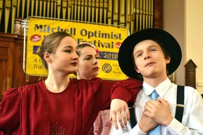 "Musical theatre group The Keller Kids, featuring Aveleigh, Neilla and Maddox Keller,  performed Easy Street from the musical ""Annie"" at Knox Presbyterian Church during day one of the Optimist Club of Mitchell's 70th annual Music Festival. GALEN SIMMONS MITCHELL ADVOCATE"