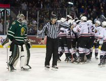 London Knights goaltender Tyler Parsons skates off the ice as the Owen Sound Attack celebrate their 4-3 overtime win at the end of game 5 of their OHL playoff hockey series at Budweiser Gardens in London, Ont. on Friday April 1, 2016.