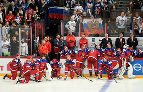 Russian players react to their overtime loss to Finland in the gold medal game of the IIHF World Junior Chamionship in Helsinki, Finland on Jan 5, 2016. (THE CANADIAN PRESS/Sean Kilpatrick)