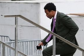 Jets wide receiver Brandon Marshall enters federal court in New York City on Thursday, April 7, 2016. (Mark Lennihan/AP Photo)