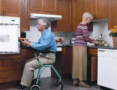 An accessible kitchen expands the traditional work triangle formed by the sink, stove and refrigerator. To be successful, it should include all work areas, as well as garbage disposal and the dishwasher.