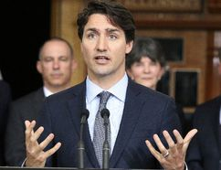 Prime Minister Justin Trudeau announced infrastructure funding in Sudbury on Thursday, April 7, 2016. Trudeau announced $26.7 million in federal money for the Maley Drive Extension Project. Gino Donato/Sudbury Star