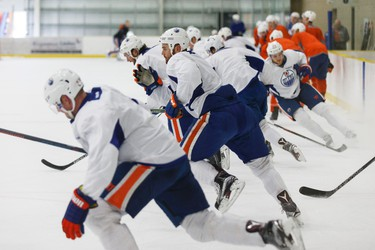 Players skate during an Edmonton Oilers practice at Leduc Recreation Centre in Leduc, Alta., on Friday April 8, 2016. Photo by Ian Kucerak
