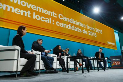Former Election 2015 candidates (left to right) Jennifer Hollett, Hans Marotte, Tanya De Mello, Mira Oreck, Emilie Taman and Aaron Paquette participate in a panel discussion at the Edmonton 2016 NDP national convention at Shaw Conference Centre in Edmonton, Alta., on Saturday April 9, 2016. Photo by Ian Kucerak