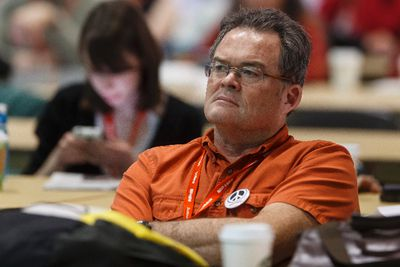 Delegates listen as British Labour MP Jon Ashworth speaks at the Edmonton 2016 NDP convention at Shaw Conference Centre in Edmonton, Alta., on Friday, April 8, 2016. Photo by Ian Kucerak