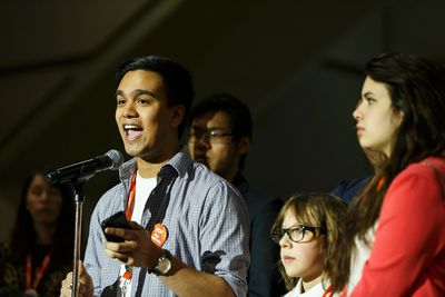 Ali Chatur from Toronto-Danforth voices his support for the Leap Manifesto during the Edmonton 2016 NDP national convention at Shaw Conference Centre in Edmonton, Alta., on Sunday April 10, 2016. The climate change manifesto passed. Photo by Ian Kucerak