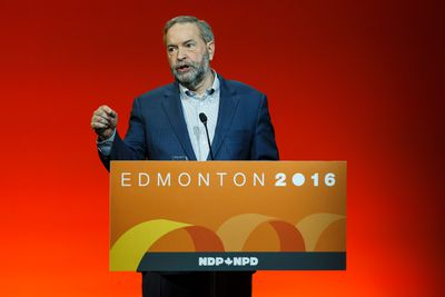Federal NDP leader Thomas Mulcair speaks during the Edmonton 2016 NDP national convention at Shaw Conference Centre in Edmonton, Alta., on Sunday April 10, 2016. Photo by Ian Kucerak