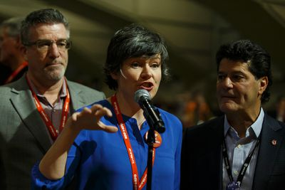Former MP Megan Leslie speaks for the Leap Manifesto during the Edmonton 2016 NDP national convention at Shaw Conference Centre in Edmonton, Alta., on Sunday April 10, 2016. The climate change manifesto passed. Photo by Ian Kucerak