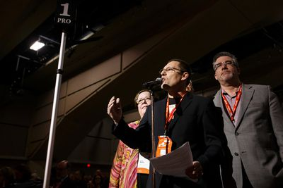 Delegate Avi Lewis (left) speaks in support of the Leap Manifesto during the Edmonton 2016 NDP national convention at Shaw Conference Centre in Edmonton, Alta., on Sunday April 10, 2016. The climate change manifesto passed. Photo by Ian Kucerak