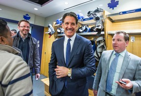 Brendan Shanahan, president of the Toronto Maple Leafs, finishes addressing print media during the Leafs locker clean out at the Air Canada Centre in Toronto, Ont. on Sunday April 10, 2016. (Ernest Doroszuk/Toronto Sun/Postmedia Network)