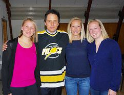 CBC Still Standing star Jonny Harris poses with Pilot Mound area locals (L-R) Brooke Gelo, Jocelyn Keinanen and Aimee Ramage after the show's free public comedy night April 1. (Alexis Stockford/The Morden Times)