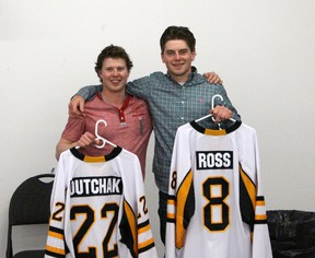 Vermilion Jr. B Tigers graduating players Trent Dutchak, left, and Spencer Ross, right, each spent four seasons with the team.