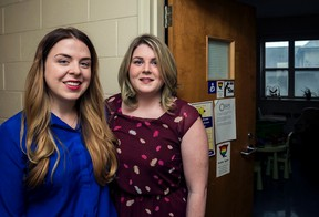 Nursing students Kyrinne Lockhart (left) and Rachel Hannigan helped develop and promote a more accessible system of quiet; private rooms available to Queens students who are nursing their babies. (Photo by Hannah Lawson/The Whig-Standard)