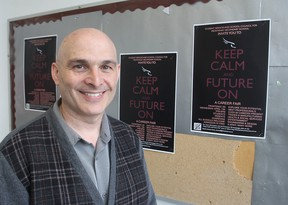 Danny Lalonde, head of student services at Frontenac Secondary School in Kingston, is helping to organize a career fair for students in the city, giving them an idea of possible career paths. (Michael Lea/The Whig-Standard)