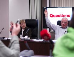 Coun. Maureen Couture, left, and Coun. Randy Roppel raise their hands as Kincardine council shows unanimous support to help the South Bruce Grey Health Centre cover the $440,000 the centre needs to compile reports for government funding.