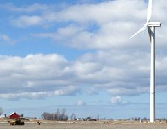 One of the wind turbines at Ferndale has been tethered after it was found to be leaning. (Nelson Phillips The Wiarton Echo)