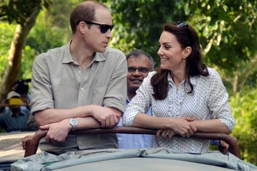 Britain's Prince William and his wife Catherine, the Duchess of Cambridge, are seen on a safari at Kaziranga National Park in the northeastern state of Assam, India, April 13, 2016. REUTERS/Pool