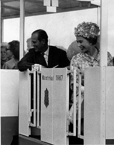"""6. The '67 ExpoThe Queen and Prince Philip arrived in Montreal by yacht and toured the site of the 1967 Expo by minirail.""""Confederation has given Canada the economic strength which has made it possible for her to help the needy countries in their economic development; it has made it possible for Canada to provide forces to help keep the peace where it has been threatened, and, above all, it has given increasing power and authority to Canada's voice in world affairs. This power and authority derives from the internal national unity and it can only be sustained and flourish if that national unity prospers,"""" the Queen said in her speech. (Postmedia Network Files)"""