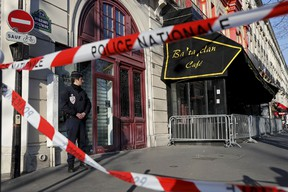 French police block the access to the Bataclan concert hall before the visit of members of a committee investigating government measures to fight shooting and bombing attacks at the site four months after a series of attacks at several sites in Paris, France, March 17, 2016. REUTERS/Benoit Tessier