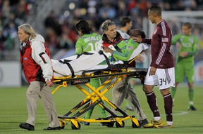 Steve Zakuani suffered a serious leg injury after a tackle in 2011. (AFP)