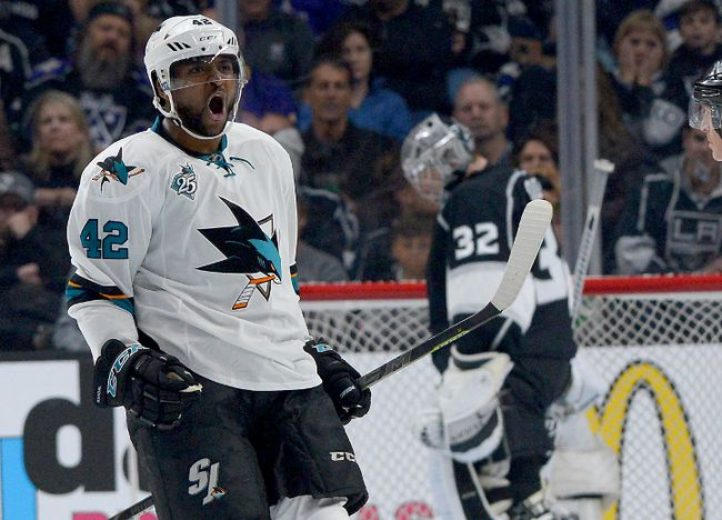 San Jose Sharks right winger Joel Ward (42) celebrates a goal past Los Angeles Kings goalie Jonathan Quick (32) in the second period of the Game 1 of the first round of the 2016 Stanley Cup Playoffs at Staples Center in Los Angeles on April 14, 2016. (Jayne Kamin-Oncea-USA TODAY Sports)
