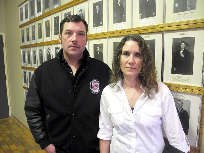 Richard and Kimberley Bryce are shown in this file photo at the Lambton County buildings in Wyoming in November 2014, during a break in a Ontario Environmental Review Tribunal hearing into their appeal of the provincial approval of the Cedar Point wind project. The tribunal rejected the appeal and the family is taking its case Tuesday to the Divisional Court in London. (File photo/THE OBSERVER)