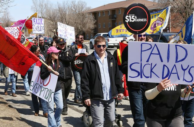 <p>A rally was held near Sudbury MPP Glenn Thibeault's office on Barrydowne Road in Sudbury, Ont. to focus awareness on employee issues and better protections for Ontario workers on Friday April 15, 2016. John Lappa/Sudbury Star/Postmedia Network