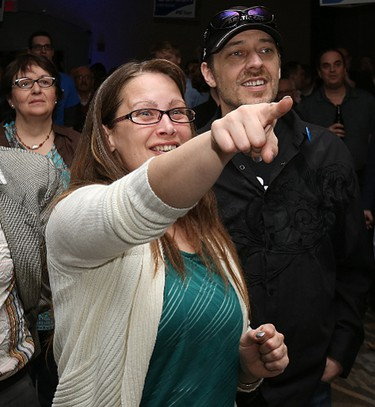 Supporters react as poll numbers roll in at the Progressive Conservative headquarters at Canad Inns Polo Park in Winnipeg on Tues., April 19, 2016. Kevin King/Winnipeg Sun/Postmedia Network