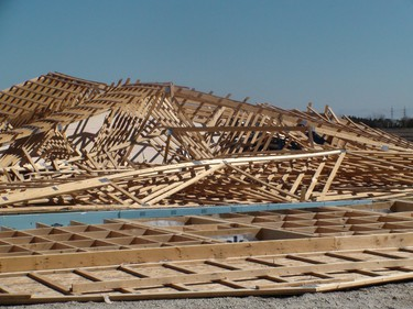 A building under construction on Highway 8 just north of Winnipeg collapsed overnight, the apparent victim of a strong wind.