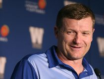 Winnipeg Blue Bombers head coach Mike O'Shea smiles during a press conference at Investors Group Field in Winnipeg on Fri., April 22, 2016.