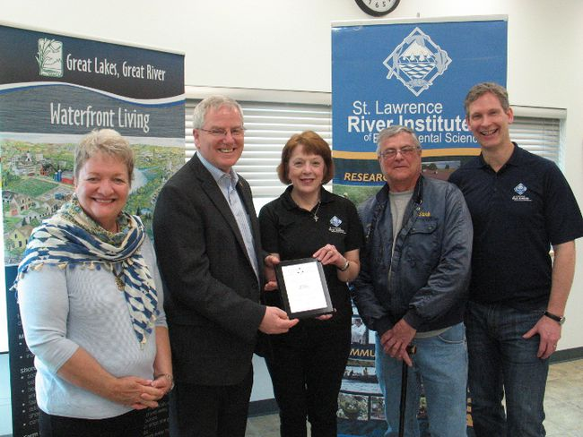 <p>The St. Lawrence River Institute announced a grant of $25,300 from the Ontario Trillium Foundation, for the Great St. Lawrence River Cleanup project this summer. From left are Paulette Hebert (OTF representative), Jim McDonell (MPP for SDSG), Karen Douglass Cooper (River Institute), Mark Kaddie (Cornwall Lunker Club) and Dr. Jeff Ridal (River Institute), on Friday, April 22, 2016, in Cornwall, Ont.</p><p> Todd Hambleton/Cornwall Standard-Freeholder/Postmedia Network
