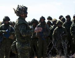 Soldiers of 1 Canadian Mechanized Brigade Group (1 CMBG) take part in Exercise Promethean Ram, a live-fire training exercise held at CFB Wainwright, on April 21, 2016.
