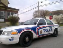 A police cruiser is parked at the corner of Clarence and Grey streets, where a woman was stabbed earlier Sunday. (DALE CARRUTHERS, The London Free Press)