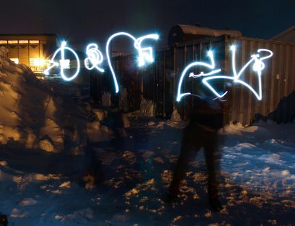 A light painting by community members in Kangiqsujuaq (or Wakeham Bay), Nunavik, in northern Quebec in February 2016. The symbols represent characters in Inuktitut, the native language there. (Photo submitted)