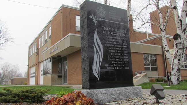 A memorial at the Clifford Hanson Fire Station on East Street, shown here on Tuesday April 26, 2016 in Sarnia, Ont., will be the location of a National Day of Mourning ceremony Thursday at 6 p.m. The annual community event honours those killed or injured at work. (Paul Morden, The Observer)