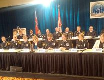 Representatives from numerous police agencies were at a news conference Thursday in Toronto to announce the arrests of 80 people involved in a child-porn probe. OPP SGT. KERRY SCHMIDT TWITTER PHOTO