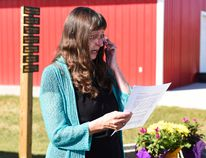 Margaret Johansen gives a speech during the Day of Mourning ceremony at Safety City on Thursday April 28, 2016 in Grande Prairie, Alta. Johansen shared the impact her husband's untimely death while at work with the crowd. Svjetlana Mlinarevic/Grande Prairie Daily Herald-Tribune/Postmedia Network