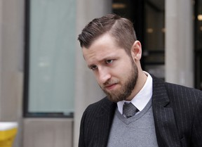 Vice Media reporter Ben Makuch leaves Ontario Superior Court in Toronto on Monday, Feb. 29, 2016. Vice is appealing a court order to turn over materials related to interviews Makuch did in 2014 with suspected terrorist, Farah Shirdon, of Calgary. THE CANADIAN PRESS/Colin Perkel