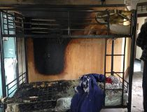 Fire damage at the Women's Emergency Accommodation Centre in downtown Edmonton following an alleged arson Tuesday night