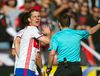 Toronto FC forward Will Johnson shares words with head referee Mathieu Broudeau