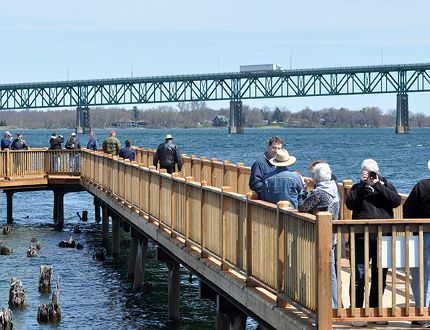 A new public boardwalk and walking path adjacent to the Port of Johnstown was officially opened Friday to provide access to the St. Lawrence River without compromising port security. (Nick Gardiner/The Recorder and Times)