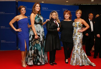 The View cast (L-R), Paula Faris, Michelle Collins, Raven Simone, Joy Behar and Candace Cameron-Bure, arrive on the red carpet for the annual White House Correspondents Association Dinner in Washington, U.S., April 30, 2016. REUTERS/Jonathan Ernst