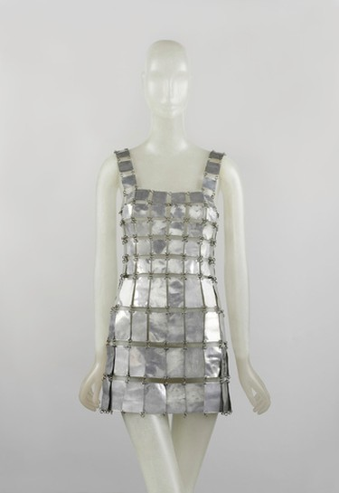 """This image released by The Metropolitan Museum of Art shows a 1967 Paco Rabanne metallic minidress. Paco Rabanne is one of many designers whose work will be included in The Costume Institute�s spring 2016 exhibition, """"manus x machina: fashion in an age of technology,"""" on view from May 5 through August 14, 2016. (The Metropolitan Museum of Art via AP)"""