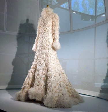 """A wedding ensemble by Karl Lagerfeld for Chanel is displayed as part of the """"Manus x Machina: Fashion in the Age of Technology,"""" exhibit at the Metropolitan Museum of Art in New York on Monday, May 2, 2016. The exhibit opens May 5 and runs through Aug. 14. (AP Photo/Jocelyn Noveck)"""